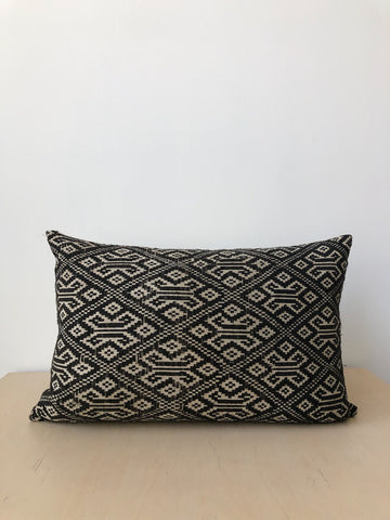 Vintage Hmong Fabric Pillow in Black