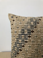 Kilim Pillow in Brown, Soft Green and Blue