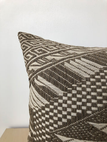 Vintage Hmong Fabric Pillow in Slate