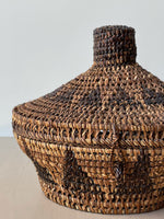 Vintage South American Lidded Handwoven Basket