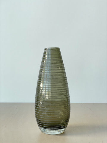 Vintage Smoked Glass Vase with Stripes