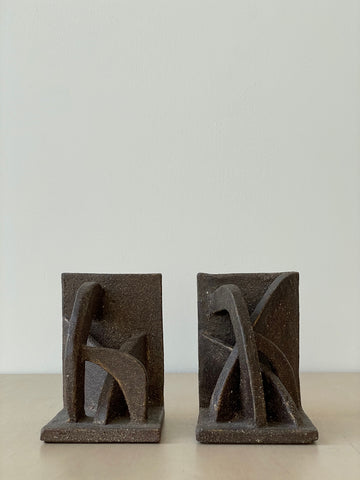 Pair of Sculptural Ceramic Bookends