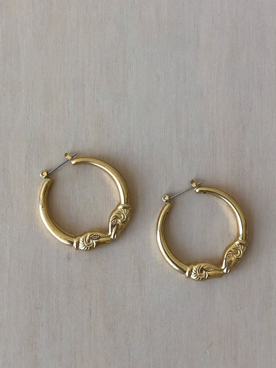 Vintage Gold-Plated Ram Hoops
