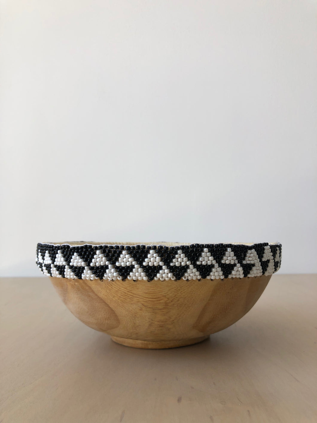 Black and White Beaded Wood Bowl