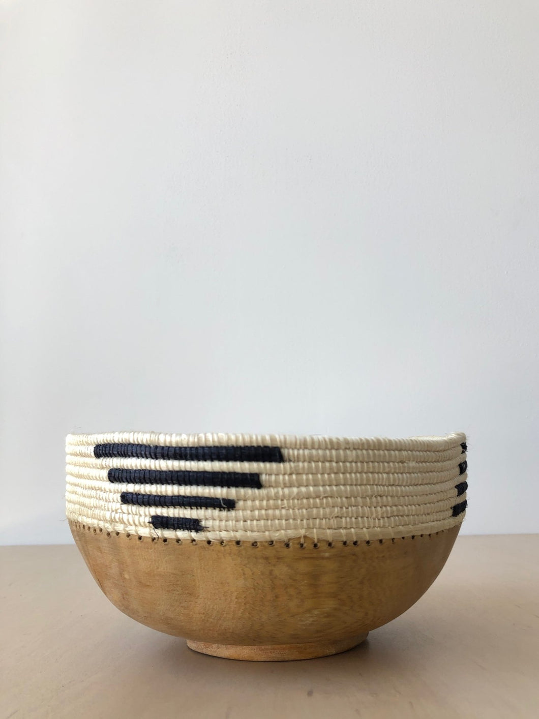Black and White Patterned Wood Bowl