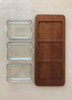 Mid-Century Teak & Glass Serving Tray