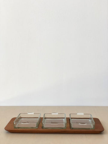 1960s Mid-Century Teak & Glass Serving Tray
