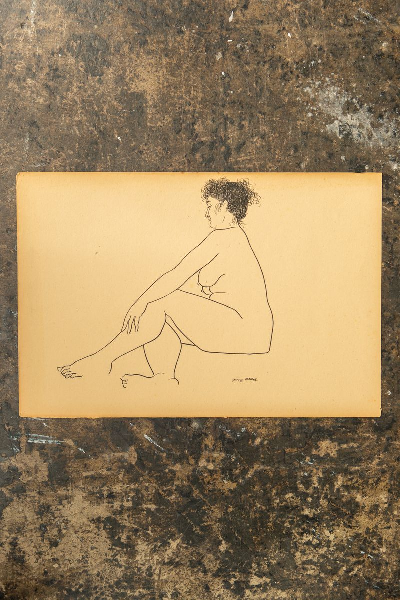 Jerry O'Day Nude Ink Drawing