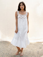 Vintage Crisp White Cotton and Crochet Dress