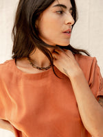 Silk Cognac Top by Nou