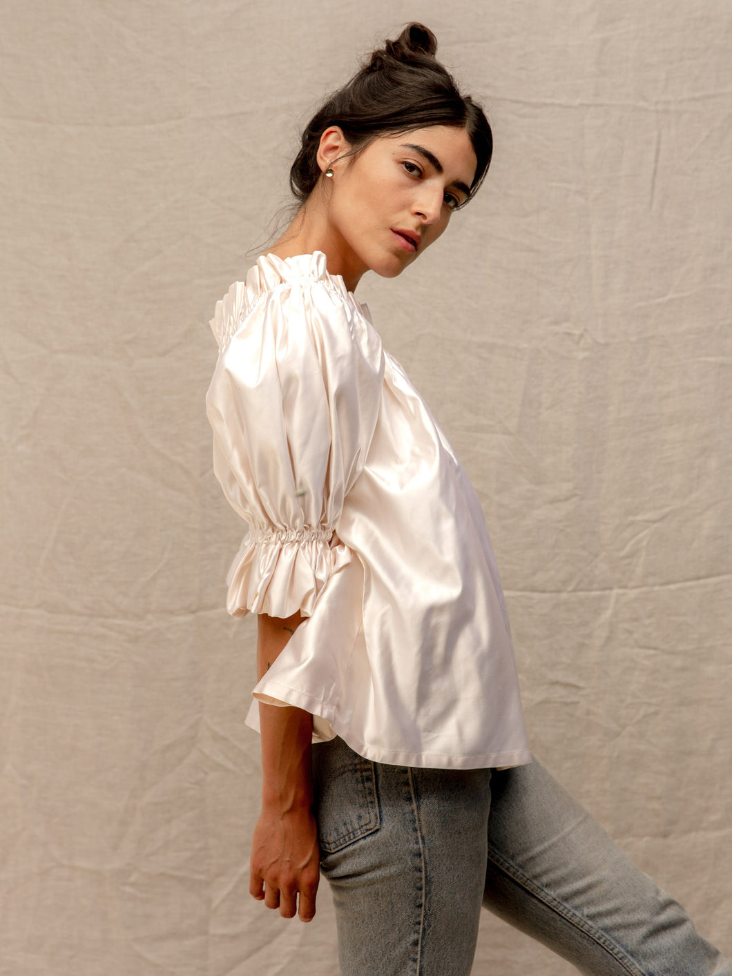 Maria Blouse in Ivory Satin