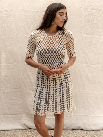 Crochet Dress in Cream