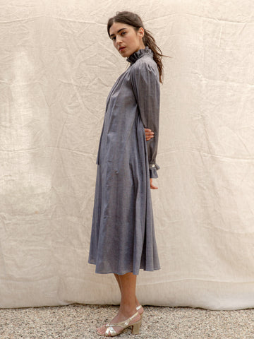 Ruffle Dress in Blue Linen