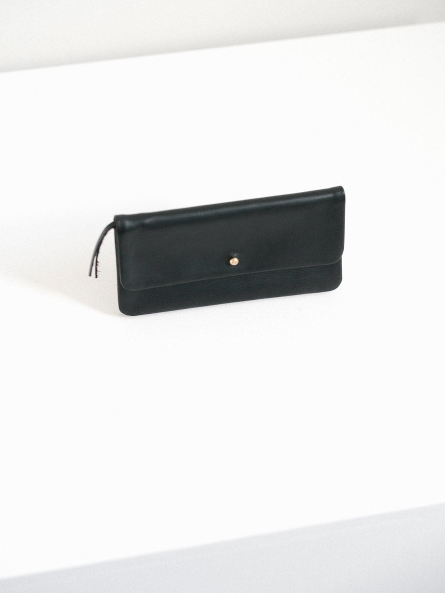 Single Flap Wallet with Button Closure in Black Leather