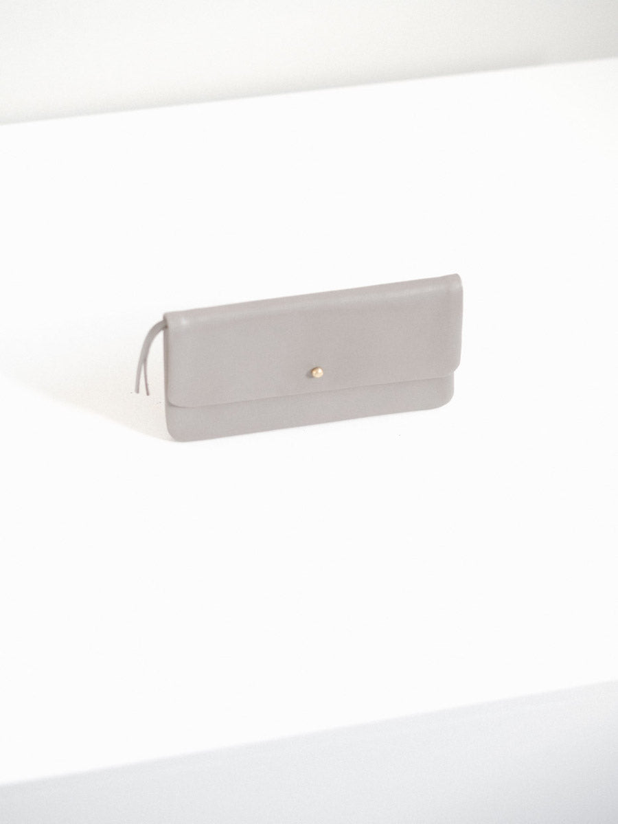 Single Flap Wallet with Button Closure in Grey Leather