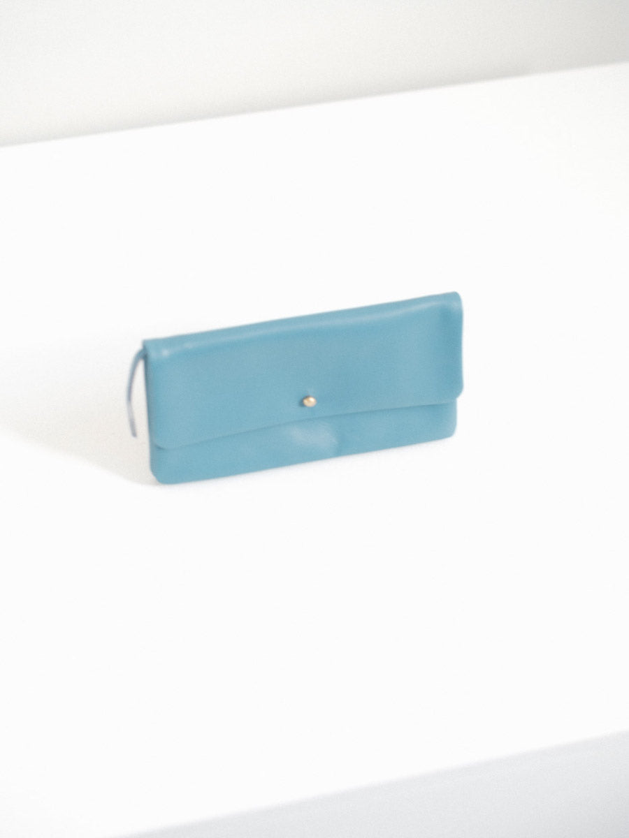 Single Flap Wallet with Button Closure in Parrot Blue