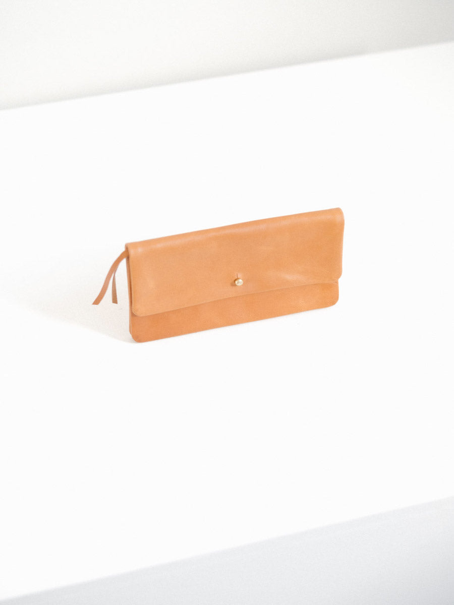 Single Flap Wallet with Button Closure in Tan Leather
