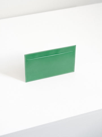 Leather Receipt Envelope in Bright Green