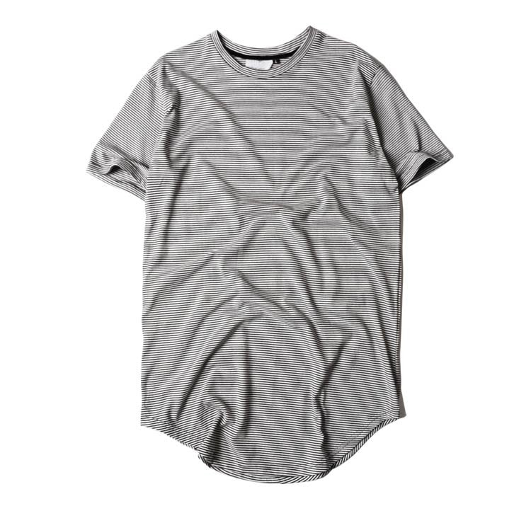 Hi-street Solid Curved Hem T-shirt Men