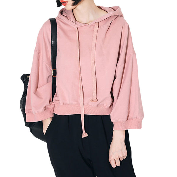 Solid All-match Drawstring Pullover