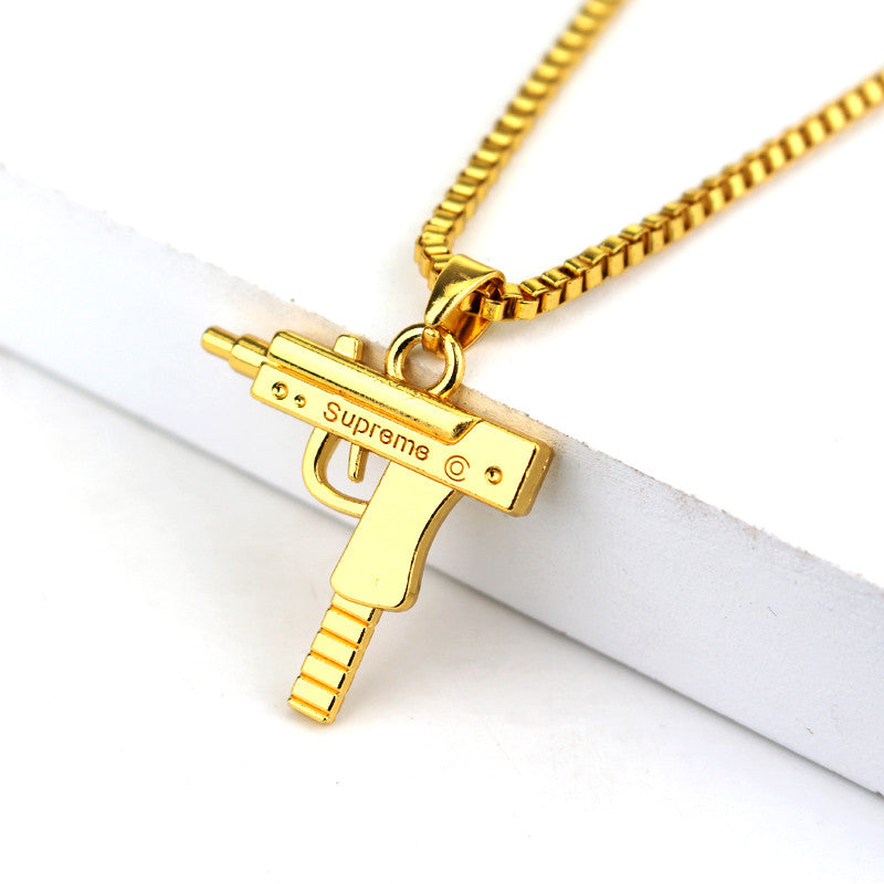 Fashion Hip Hop Jewelry Engraved Letter Gun Necklace 65cm Long Chain