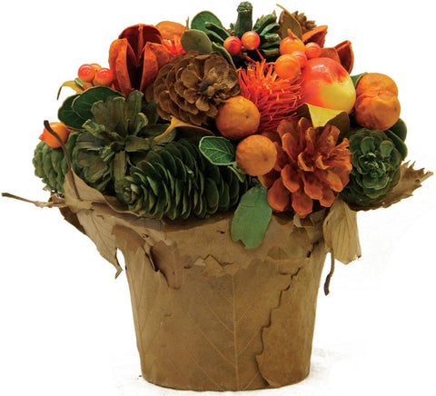 "7"" Autumn Harvest Pinecone and Berries Artificial Potted Floral Centerpiece"