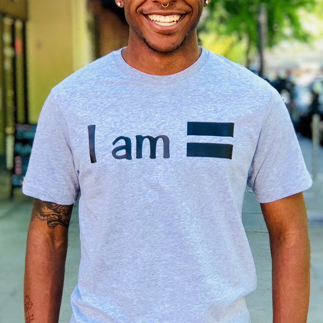 "African American model smiling in silver gray ""I am Equal"" t-shirt"