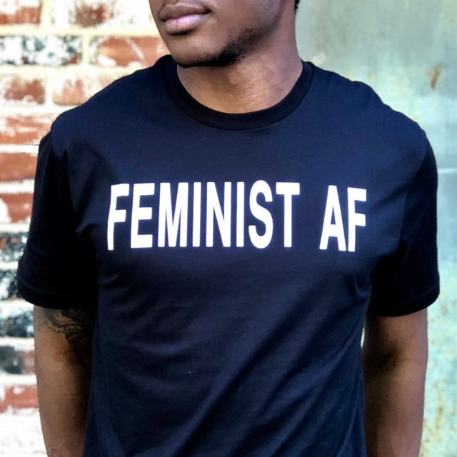 African American model in black feminist t-shirt