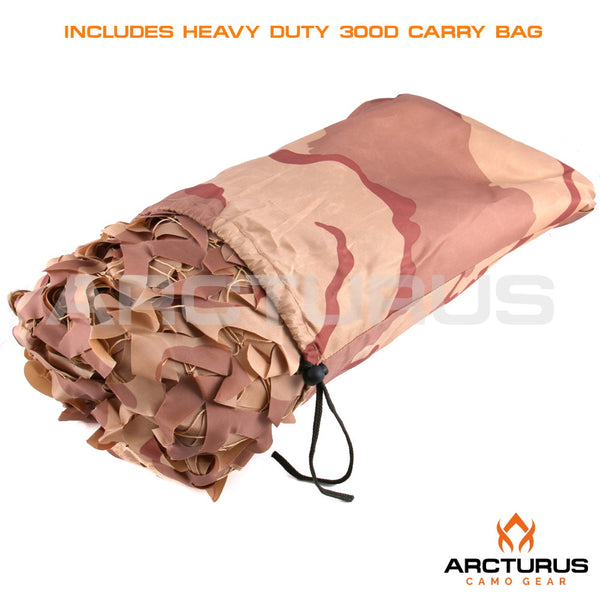 300D Heavy Duty Arcturus Desert Camo Netting with Mesh Support Grid