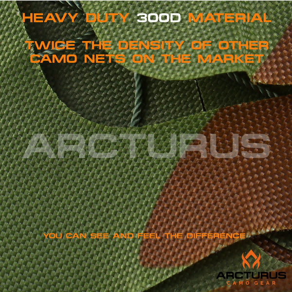 300D Heavy Duty Arcturus Woodland Camo Netting with Mesh Support Grid