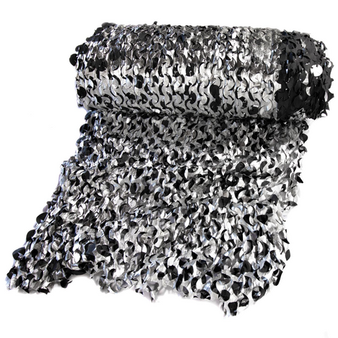 Metallic Black/Silver Camouflage Netting - Fire Retardant [Bulk Roll]