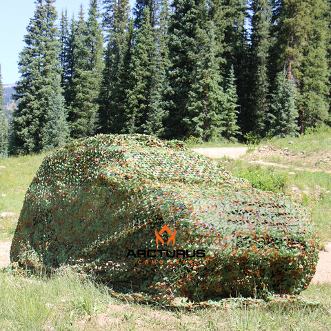LIKE NEW - 300D Heavy Duty Arcturus Woodland Camo Netting with Mesh Support Grid
