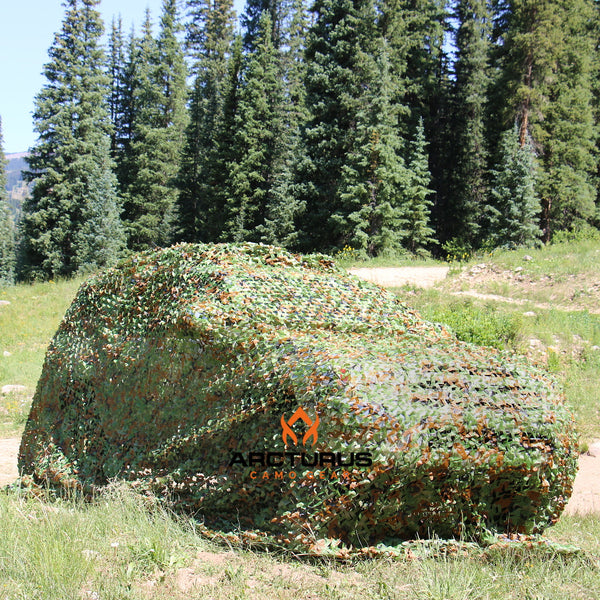 Woodland camo netting with mesh support