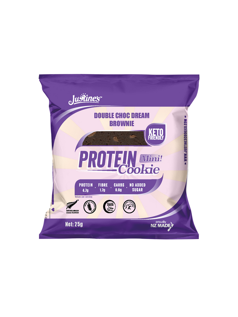 JUSTINE'S KETO FRIENDLY PROTEIN BROWNIE DOUBLE CHOC DREAM MINI  25G