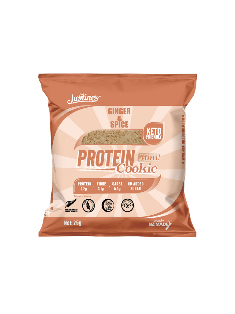 JUSTINE'S KETO FRIENDLY GINGER AND SPICE  MINI PROTEIN  COOKIE 25G