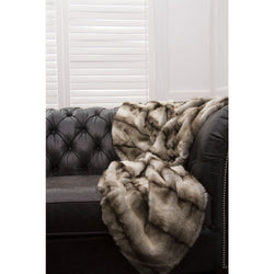 Aspen Deluxe Faux Fur Black Stripe Throw