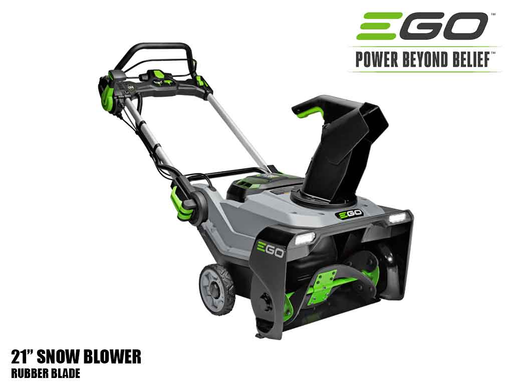 "EGO 21"" Power Plus snow blower with peak power and rubber blade"