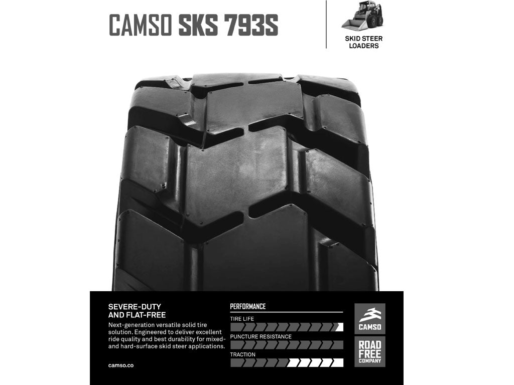 CAMSO SKS 793S TIRE & RIM ASSEMBLY, (SSL) SKID STEER LOADER