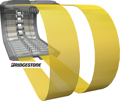 BRIDGESTONE RUBBER TRACK, BLOCK PATTERN, 450x55x86KF, CASE TR320, TR340, TV380, 445CT, 450CT