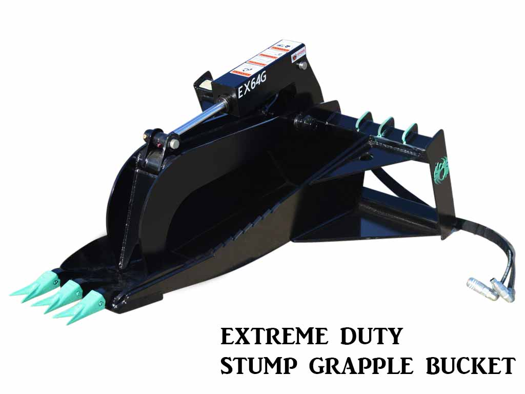 SPIDER EX64G EXTREME DUTY STUMP BUCKET WITH GRAPPLE (SSL)(CTL)