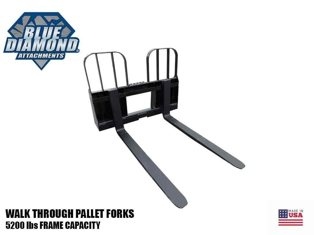 BLUE DIAMOND PALLET FORKS, WALK THROUGH, HD DUTY, (SSL)(CTL)