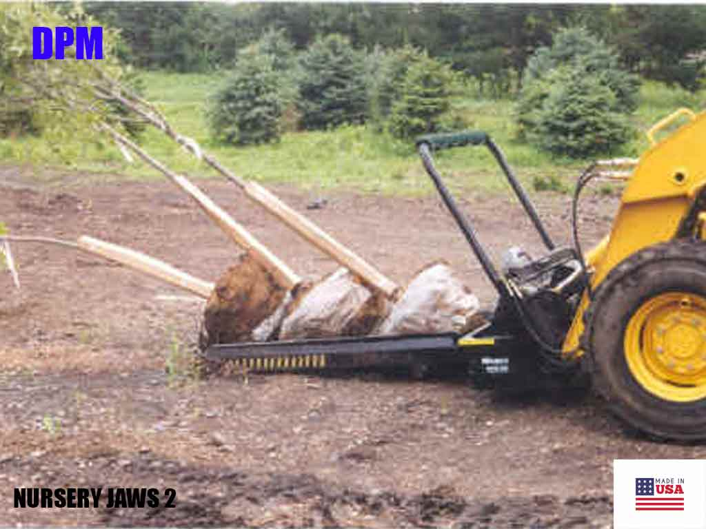 DPM nursery jaws 2 for machines with universal skid steer coupler