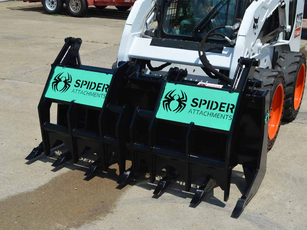 SPIDER EXTREME DUTY GRAPPLE RAKE FOR SKID STEER LOADERS (SSL)