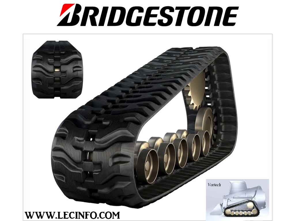 Bridgestone VORTECH Rubber Tracks, 450x58x86, H pattern, for MUSTANG 2500RT Compact Track Loader (CTL)