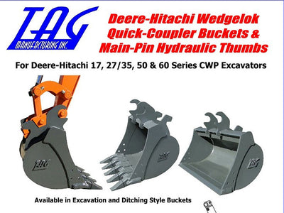 TAG WEDGE LOCK BUCKETS FOR JOHN DEERE AND HITACHI, 12000 LB TO 15000 LB EXCAVATOR