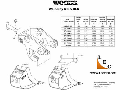 Wain-Roy XLS Buckets, Up to 16000LB (1/4 YD) Backhoe (TLB)