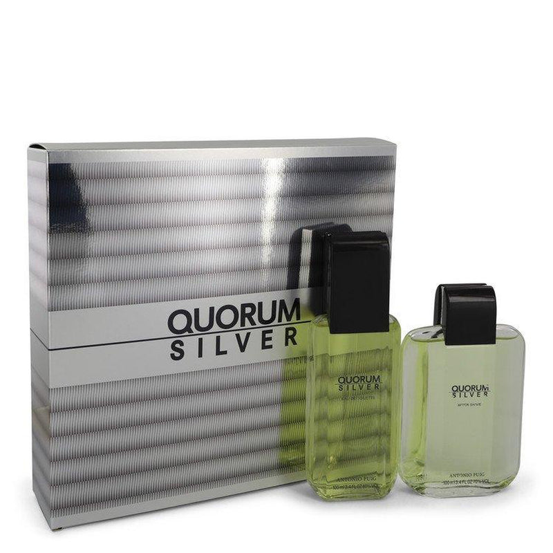 Quorum Silver by Puig Gift Set -- 3.4 oz Eau De Toilette Spray + 3.4 oz After Shave