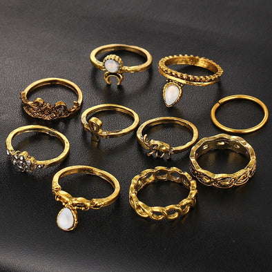 10pc BOHO Knuckle Ring Pack