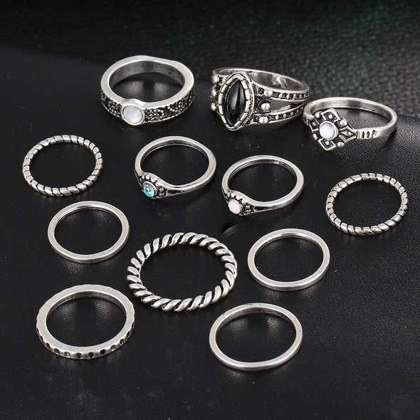 Boho Style Finger Ring Set - 12pc