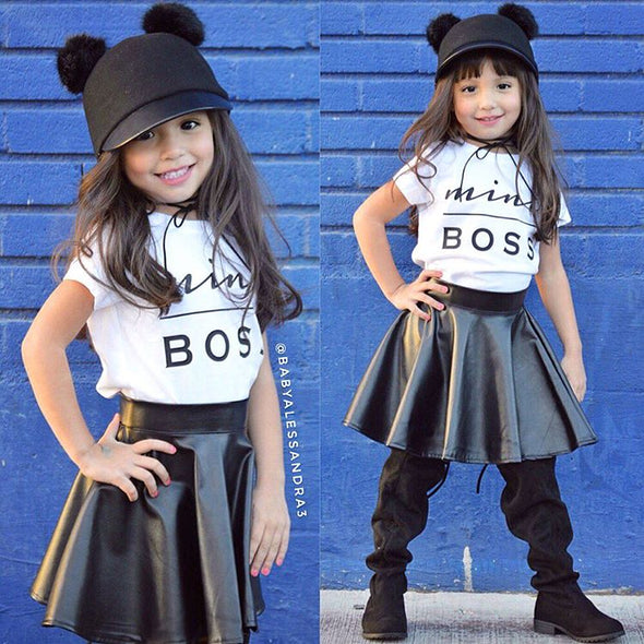 Mini Boss T-shirt Top + Leather Skirt Baby Clothing